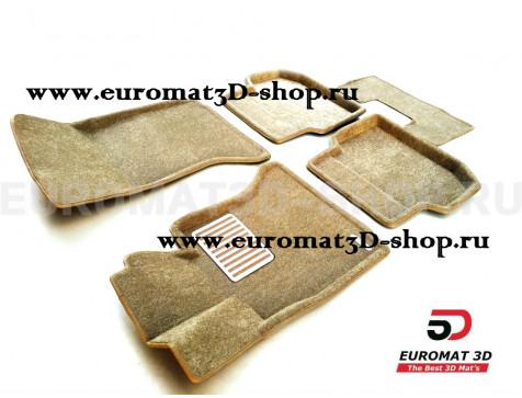 Текстильные 3D коврики Euromat3D Lux в салон для Bmw 5 (E60) (2003-2010) № EM3D-001204T Бежевые