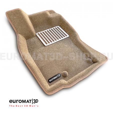 Текстильные 3D коврики Euromat3D Lux в салон для Jaguar XJ (2014-) № EM3D-002754T Бежевые